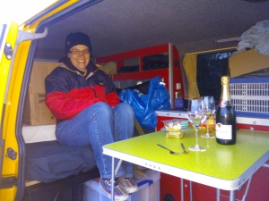 First night in the van (with lots of boxes!)