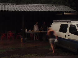 Parilla with friends from the road sheltering from the heavy rain the night we made it to Foz de Iguazu (Brazil)