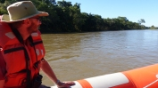 We recovered with a rather more sedate boat trip along the river across the top of the falls