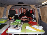 First night cooking inside the van due to the elements - this time rain