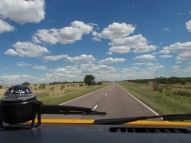 Long, flat, hot roads across the Pampas