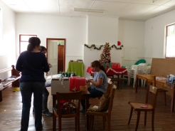 Inside, where there were preparations for Christmas, we could have been back at home