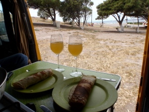 Christmas morning breakfast, in the van out of the wind
