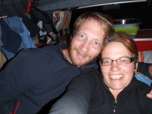 NYE dinner in the van - and yes, that is our smalls hanging up drying behind us!
