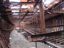 Inside the wreck, which is slowly rusting away