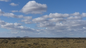Just before the southern border with Chile, some volcanos start to punctuate the landscape