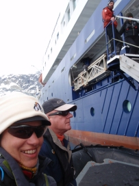 Returning to the boat after an amazing first day