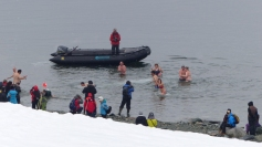 "On our last morning, a surprising number of folk took the ""polar plunge""!"