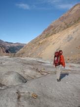 Walking back across the glacier