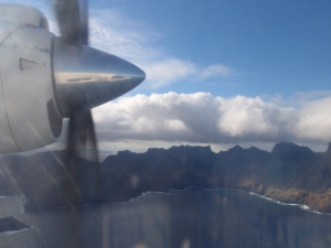 View of Robinson Crusoe Island from the plane