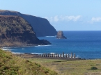 """The famous burial mounds (""""Ahi"""") with the """"Moai"""" statue heads mounted on, always looking inland"""