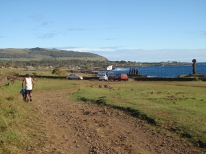 The Rapa Nui flag flies over the entrance to one of the sites