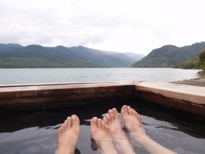 Our first thermal springs on the shores  near Puyuhuapi