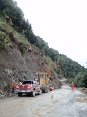 Some heavy rain brought a small landslide to one of the older sections of road