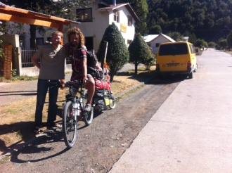 We saw Romain, with some temporary repairs to his bike, off in the morning in Futaleufu