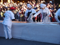 The first night of the chocolate festival featured the world's longest chocolate bar being poured down the middle of the main street!