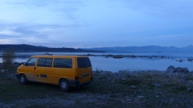 With the van finally, fully repaired, we head north, to enjoy more lakes and volcanos - this is our overnight spot near Villarica