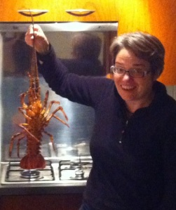 Our live lobster from Robinson Crusoe back in our rented apartment in the centre of Santiago