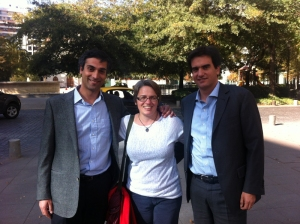 Becca with her MBA classmates, Felipe and Gustavo