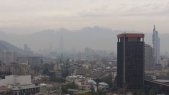 Looking towards the financial district and the Andes beyond - through the smog!