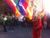 One Sunday, we stumbled across a parade of traditional dancing and our first sighting of the colourful flag of the indigenous people