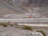 The dramatic switchback climb up to the Paso de Los Libertadores from Chile