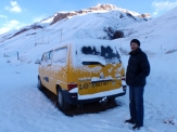 Catching the first snows of winter at our overnight stop high up in the pass