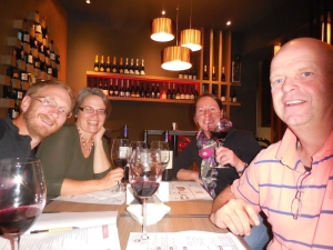 Enjoying our Malbec tasting at the Cantina with JP and Hannie (picture thanks to JP)