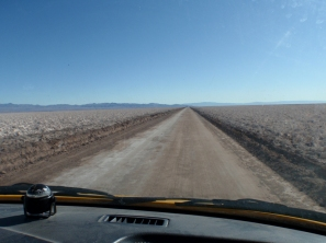 Driving across the Salar de Atacama