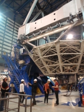 Inside one of the six large telescopes - four of the large ones carry out the research, with the other two on constant mapping programmes. Four smaller ones also on site support the large telescopes.