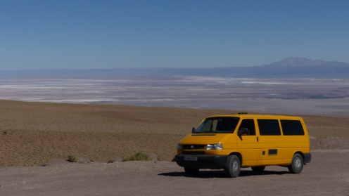 Driving up to cross the border into Bolivia onto the Altiplano, with the Salar de Atacama behind us