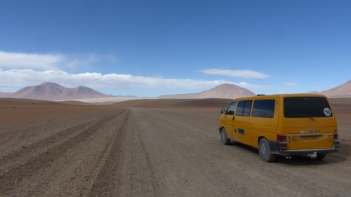 The Lagunas Ruta follows a high altitude route between lakes and volcanos in the Altiplano