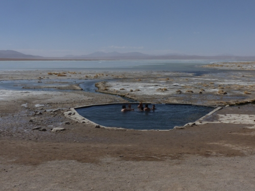 Laguna Chalvin has a refugio and thermal pool - our spot for the first night