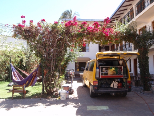 Parked up in the lovely courtyard of Hostal Pachamama