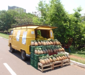 Another yellow VW, this one selling pineapples in Campo Grande