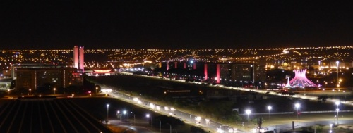 Eixo Monumental lit up at night
