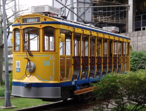 One of the restored trams close up