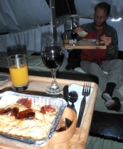The guides, who stayed in another pod, prepared and brought over a lovely meal, including wine they had carried up for us!