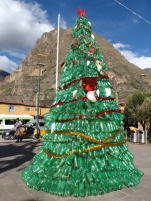 The plastic bottle Christmas tree in the centre of the square
