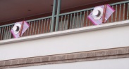 Balconies decorated around the sides ready for Carnaval