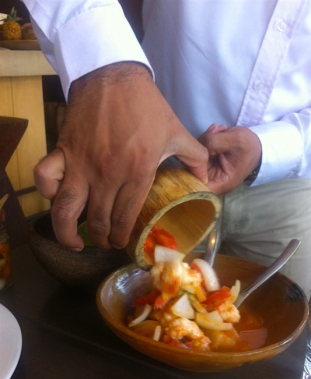 Prawn ceviche cooked in bamboo