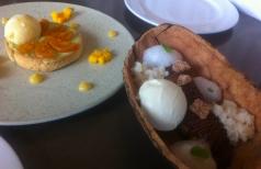The creamy avocado tart with sweet tomatos and the banana split