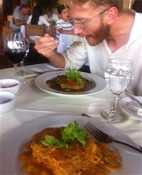 Two different lasagnes with a Peruvian twist - Aji de Gallina and Seco de Res behind