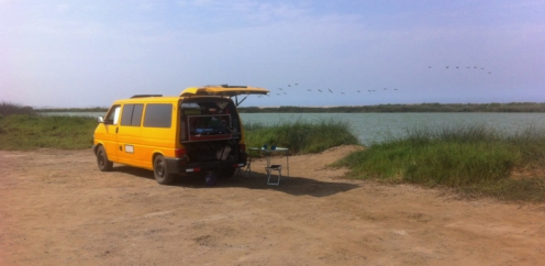 A nice place to stop for the night by a laguna on the coast across from Caral