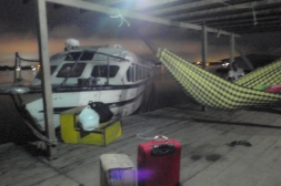 A pre-dawn start for the speed boat back upriver to Iquitos - a slower journey against the river flow