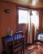 Inside our restored cabin