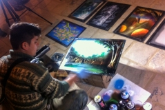 Watching a street artist in Chachapoyas