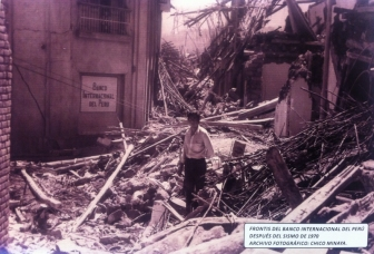 A photograph of the aftermath of the 1970 earthquake